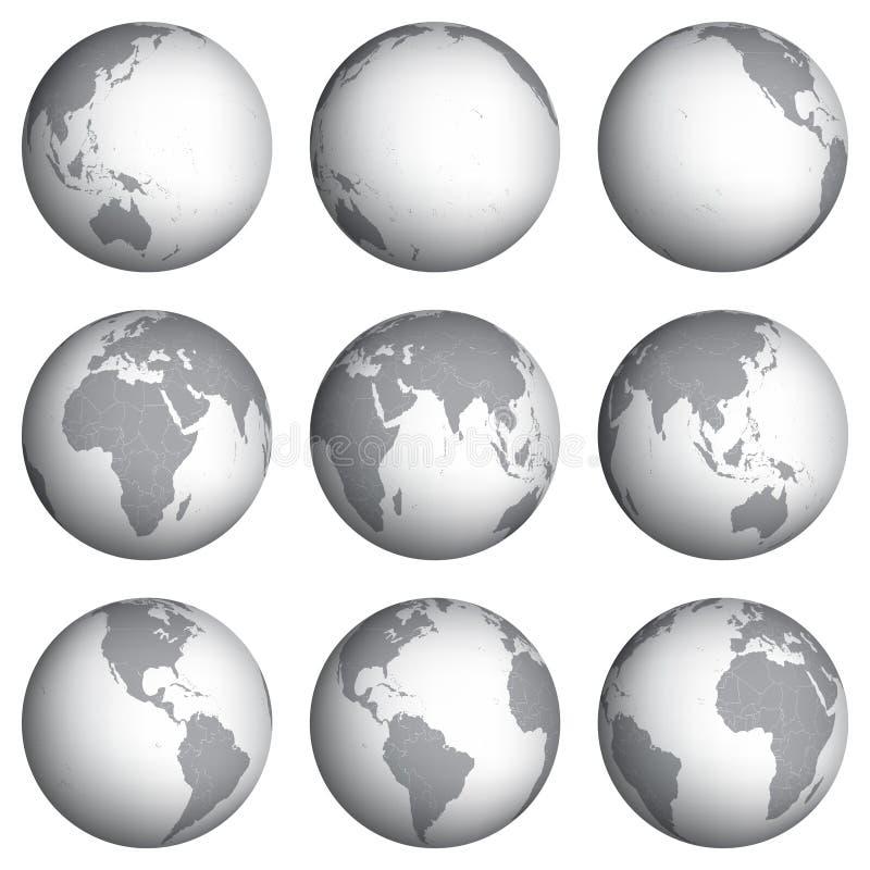 Insieme dell'illustrazione di vettore delle icone del globo illustrazione vettoriale