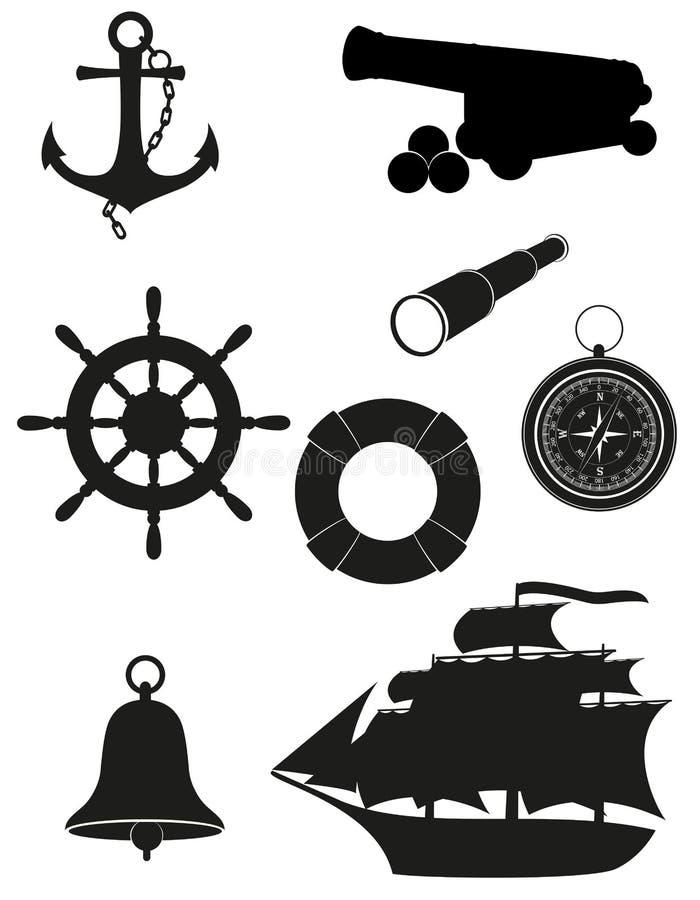 Insieme dell'illustrazione di vettore delle icone dell'oggetto d'antiquariato del mare illustrazione di stock
