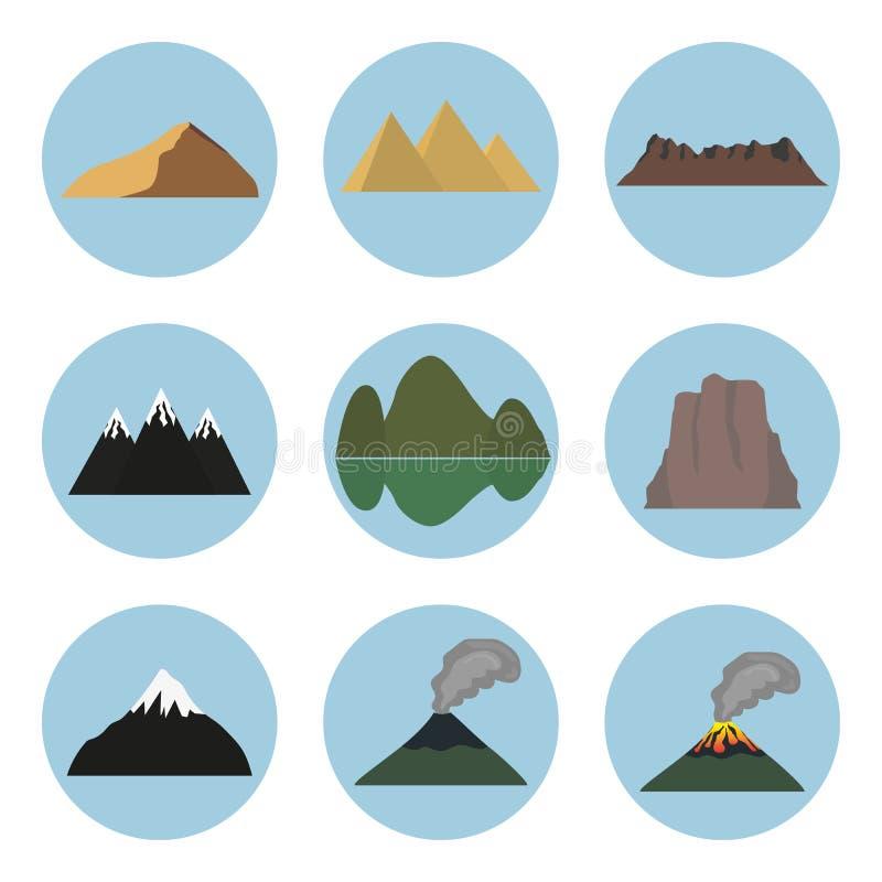 Insieme dell'illustrazione di vettore delle icone della montagna immagine stock libera da diritti