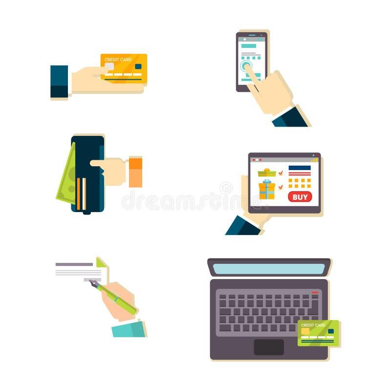 Insieme dell'illustrazione di vettore di commercio elettronico illustrazione di stock