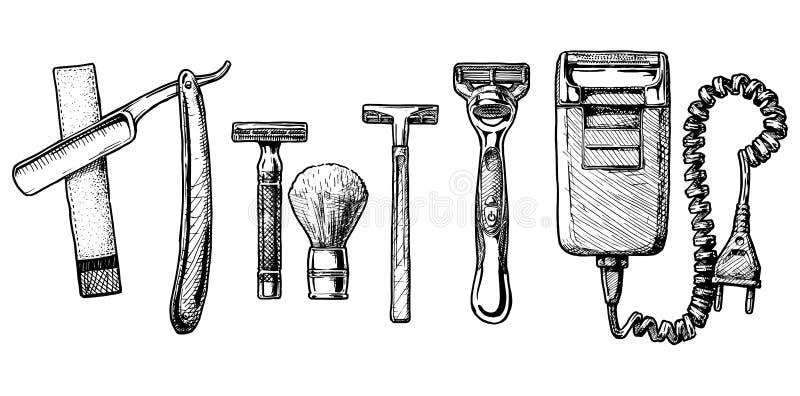 Insieme dell'illustrazione di vettore di rasatura degli accessori illustrazione vettoriale