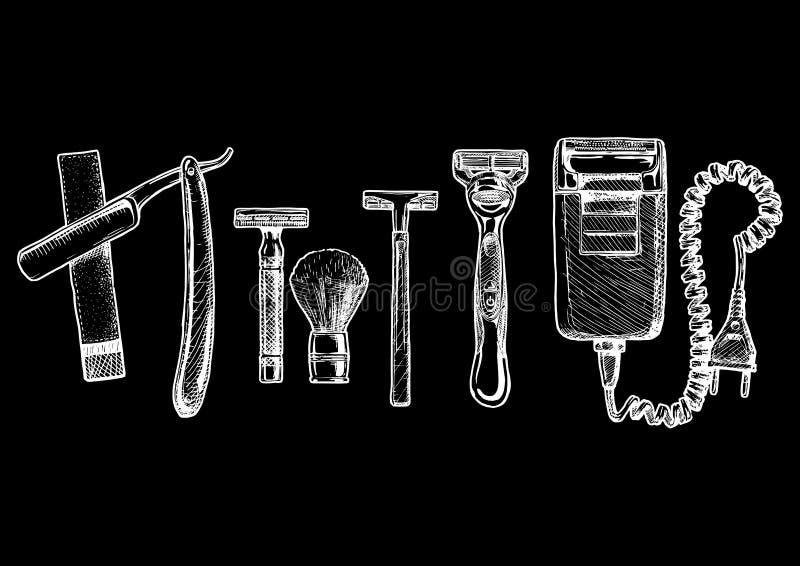 Insieme dell'illustrazione di vettore di rasatura degli accessori illustrazione di stock