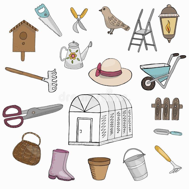 Insieme dell'illustrazione di vettore Giardino e strumenti dell'orto Immagini su fondo bianco royalty illustrazione gratis