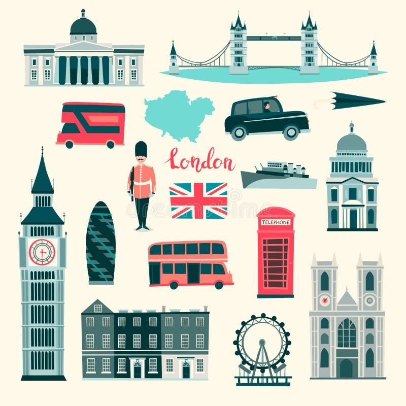 Insieme dell'illustrazione di vettore di Londra Icone del Regno Unito del fumetto Punti di riferimento del turista di Londra royalty illustrazione gratis