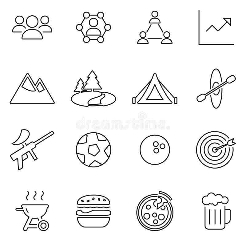 Insieme dell'illustrazione di vettore di Team Building Icons Thin Line royalty illustrazione gratis