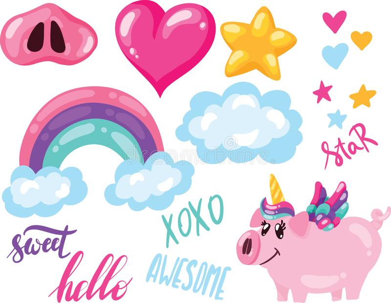 Insieme dell'illustrazione di vettore dell'unicorno sveglio disegnato a mano del maiale con il cuore della stella della nuvola de illustrazione vettoriale