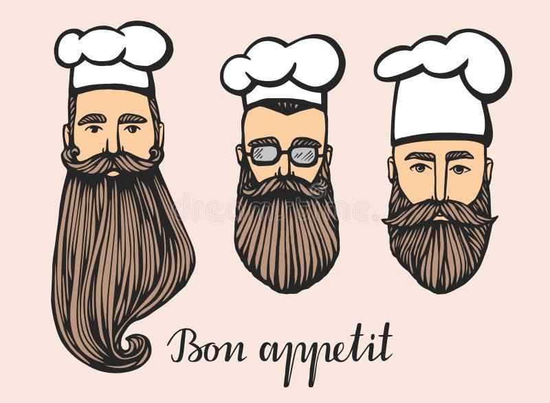 Insieme dell'illustrazione disegnata a mano di vettore del capo-fornello dei pantaloni a vita bassa con i baffi e della barba in  illustrazione vettoriale