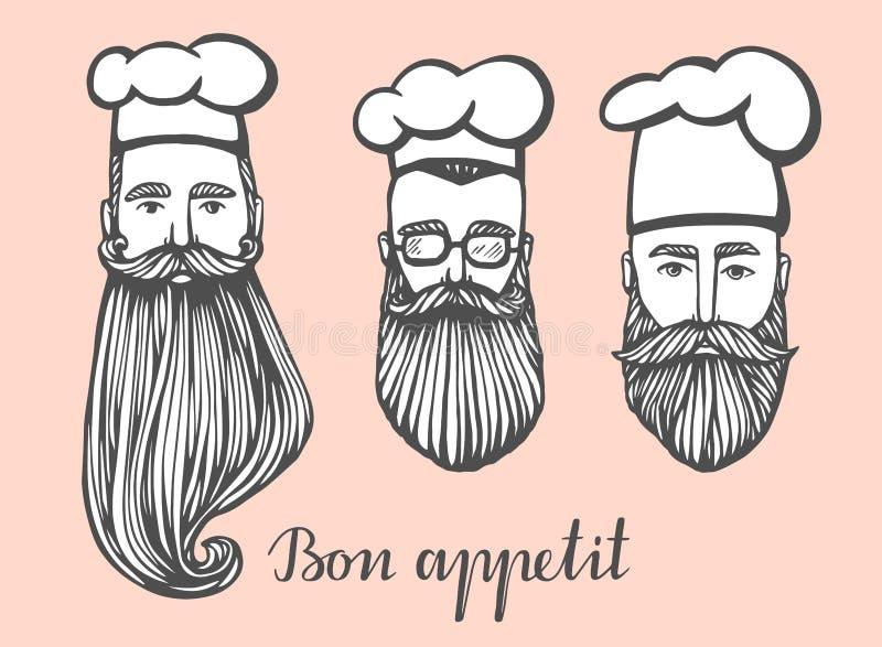 Insieme dell'illustrazione disegnata a mano di vettore del capo-fornello dei pantaloni a vita bassa con i baffi e della barba in  illustrazione di stock