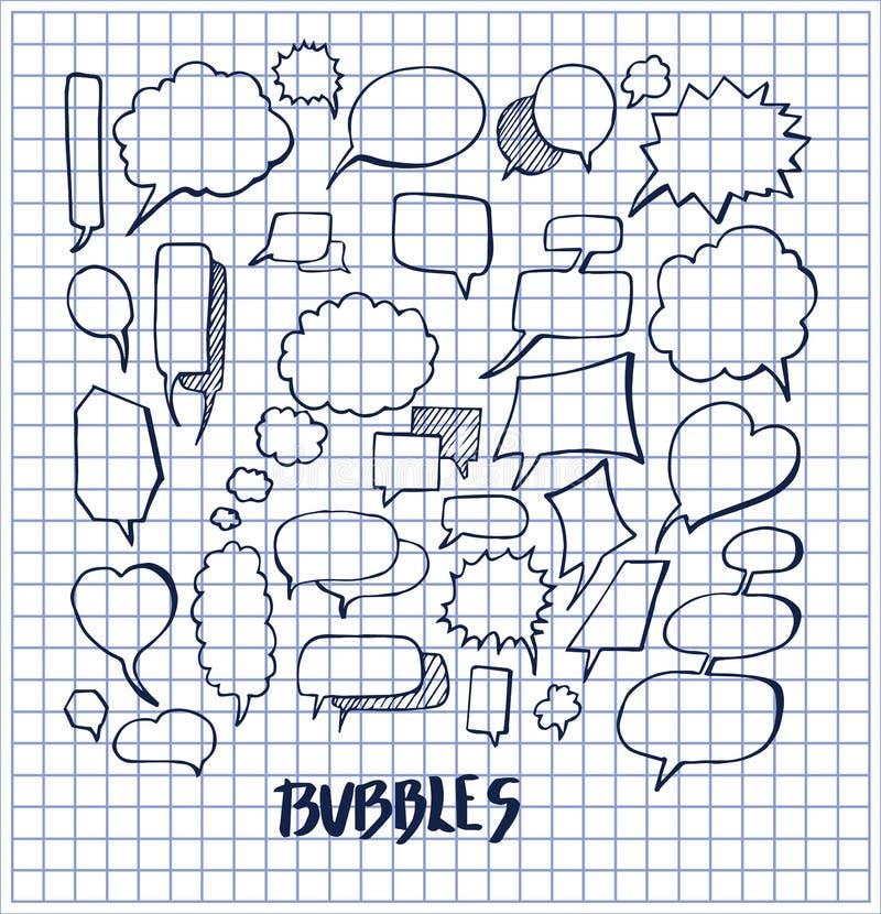 Insieme dell'illustrazione disegnata a mano di vettore delle bolle illustrazione vettoriale