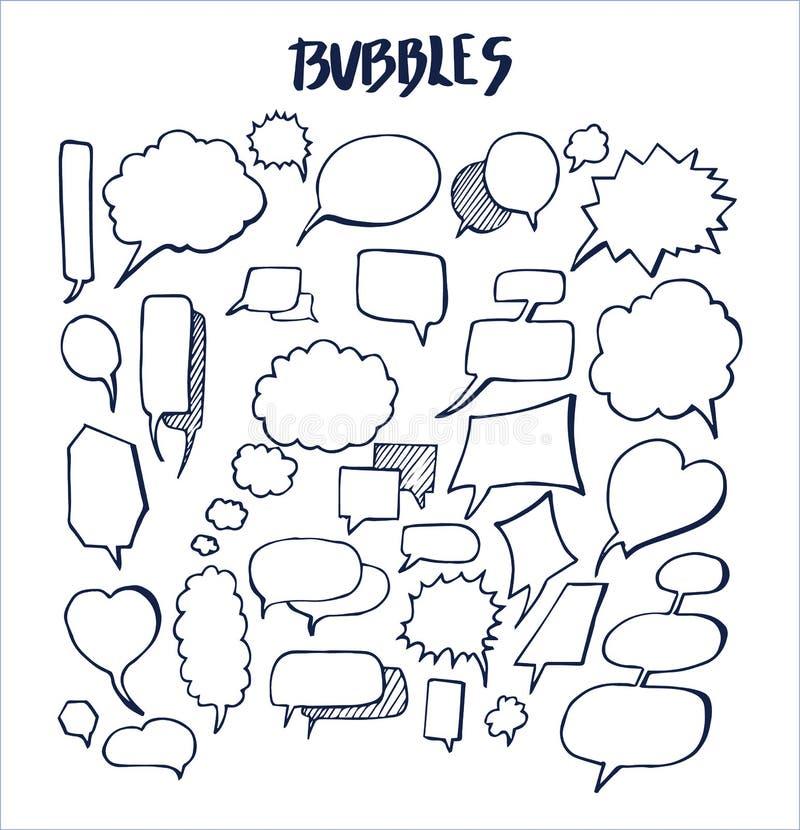 Insieme dell'illustrazione disegnata a mano di vettore delle bolle illustrazione di stock