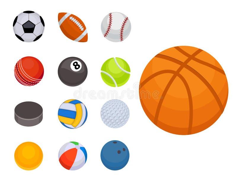 Insieme dell'illustrazione rotonda di vettore della sfera dell'attrezzatura del gioco di hobby di calcio del canestro di vittoria illustrazione vettoriale