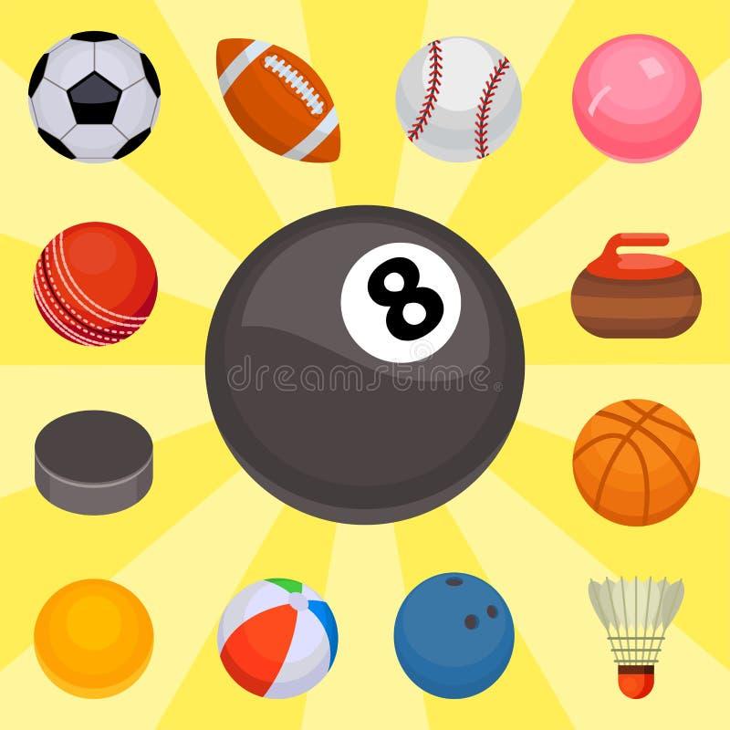 Insieme dell'illustrazione rotonda di vettore della sfera isolata palle dell'attrezzatura del gioco di hobby di calcio del canest royalty illustrazione gratis