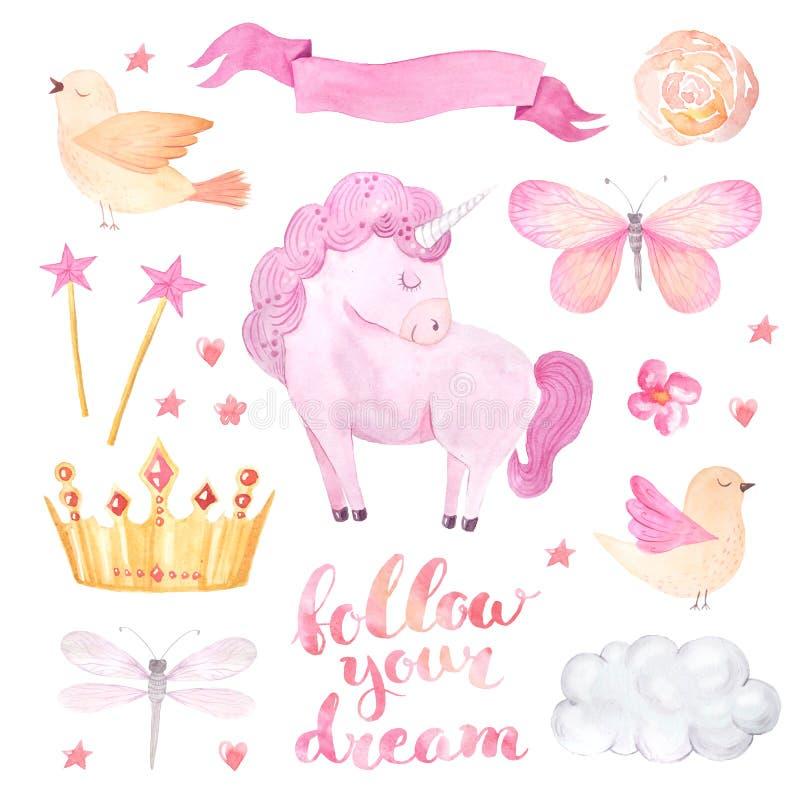 Insieme dell'illustrazione dell'unicorno di rosa dell'acquerello illustrazione vettoriale