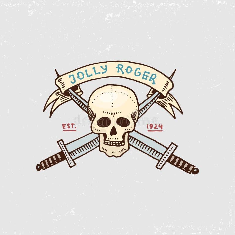 Insieme dell'inciso di, disegnato a mano, vecchio, etichette o distintivi per i corsari, cranio Roger allegro Pirati marini e nau illustrazione di stock