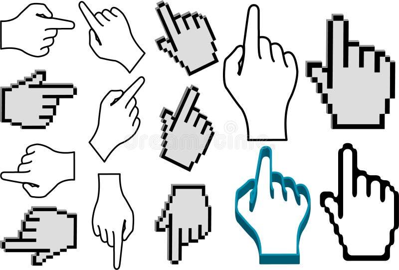 Insieme dell'indicatore della mano immagini stock libere da diritti