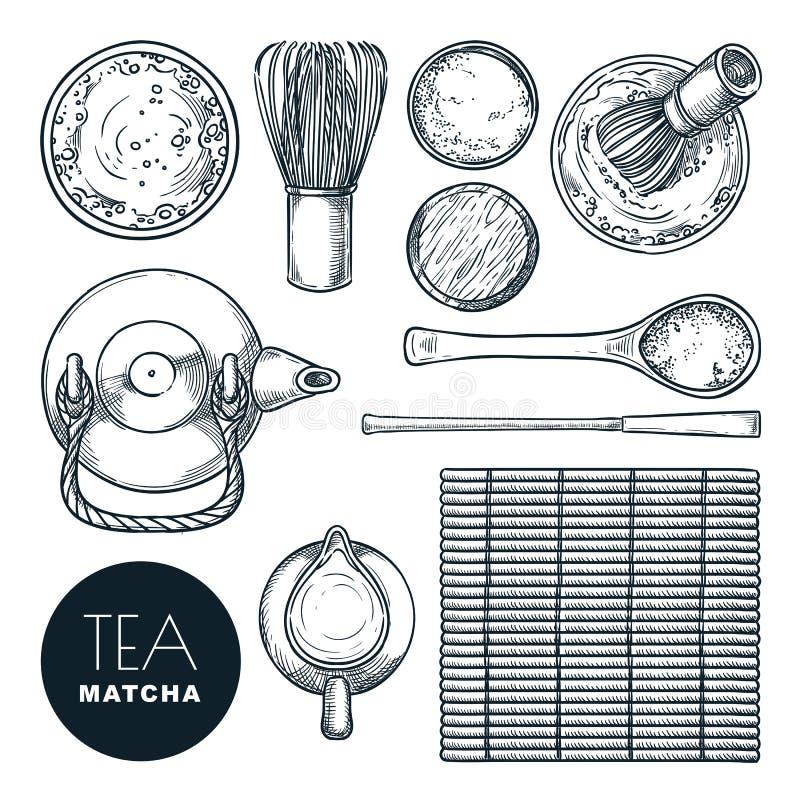 Insieme dell'ingrediente del tè verde di Matcha Cerimonia di tè giapponese, illustrazione disegnata a mano di schizzo di vettore  illustrazione di stock