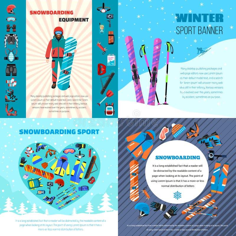 Insieme dell'insegna dell'attrezzatura di snowboard di inverno, stile piano royalty illustrazione gratis