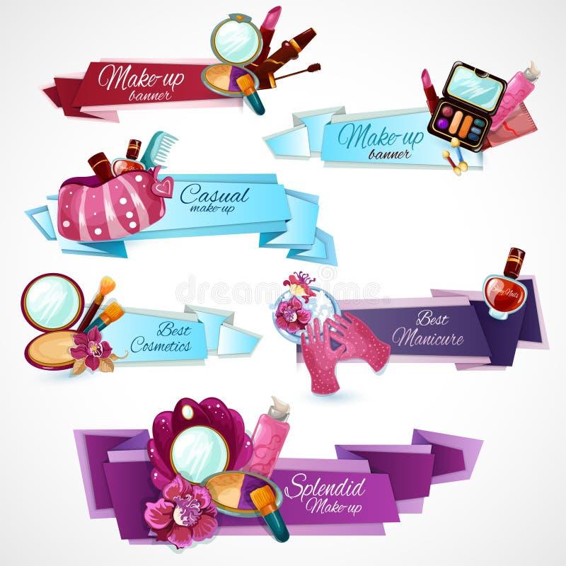 Insieme dell'insegna dei cosmetici illustrazione di stock