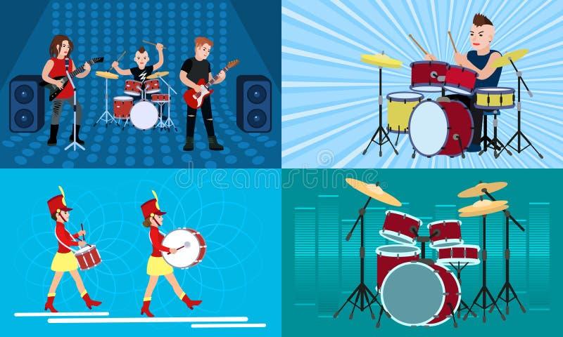 Insieme dell'insegna del batterista, stile piano illustrazione vettoriale