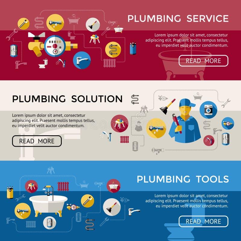 Insieme dell'insegna dell'impianto idraulico illustrazione di stock