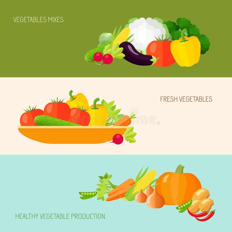 Insieme dell'insegna delle verdure illustrazione di stock