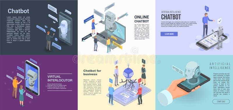 Insieme dell'insegna di Chatbot, stile isometrico royalty illustrazione gratis