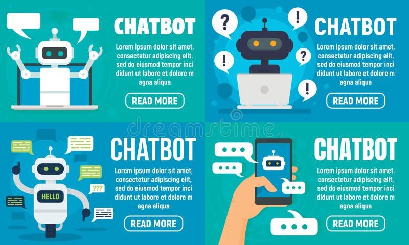 Insieme dell'insegna di Chatbot, stile piano illustrazione vettoriale