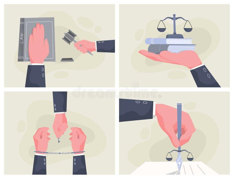 Insieme dell'insegna di concetto di legge Mano di jusitce royalty illustrazione gratis