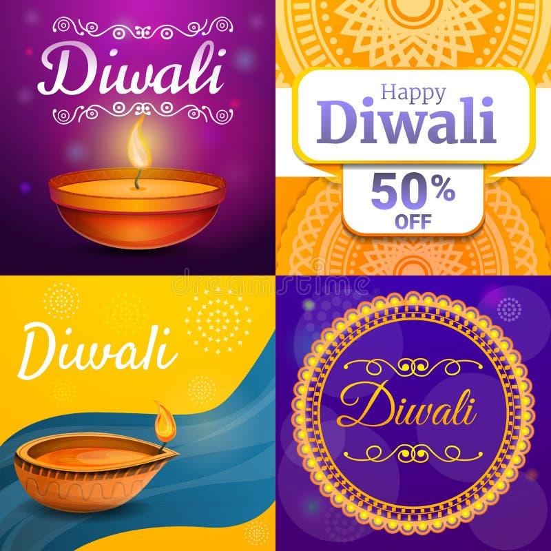 Insieme dell'insegna di Diwali, stile del fumetto illustrazione di stock