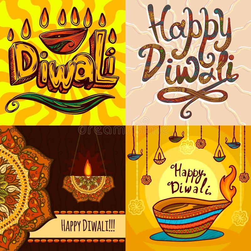 Insieme dell'insegna di Diwali, stile disegnato a mano illustrazione di stock