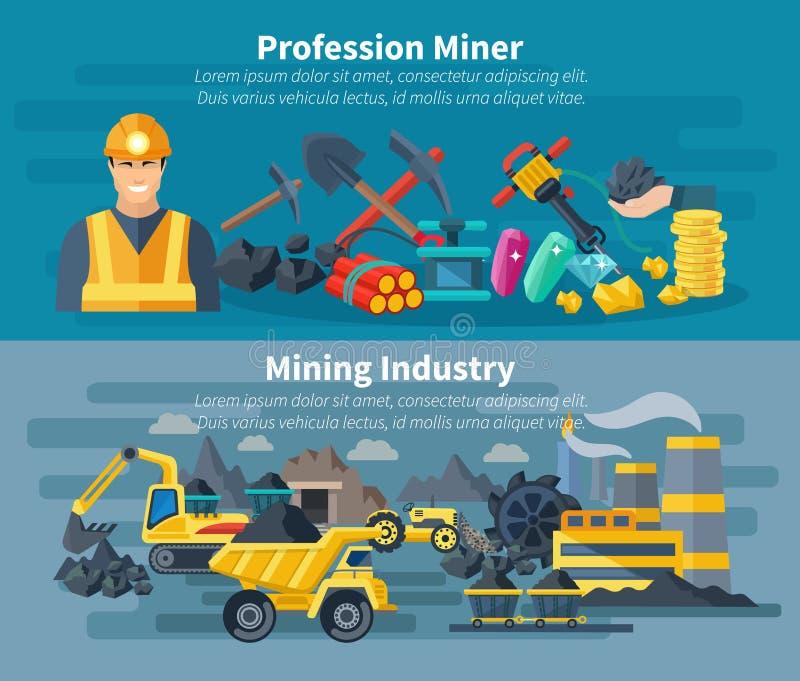 Insieme dell'insegna di estrazione mineraria royalty illustrazione gratis