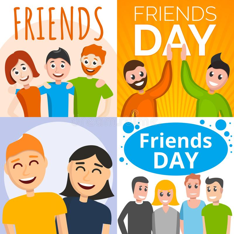 Insieme dell'insegna di giorno degli amici, stile del fumetto illustrazione vettoriale