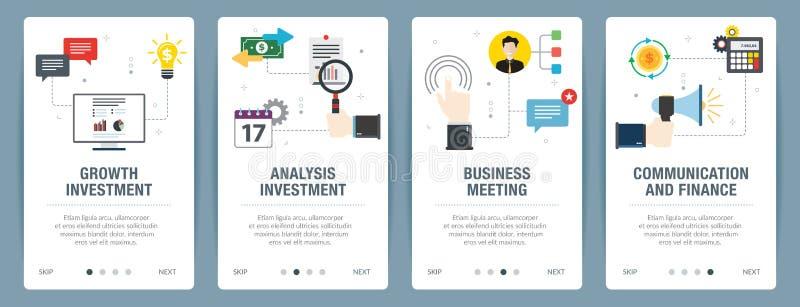 Insieme dell'insegna di Internet delle icone di investimento, di affari e di finanza illustrazione di stock