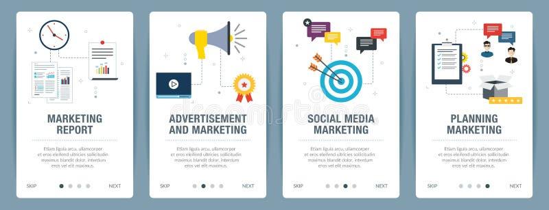 Insieme dell'insegna di Internet dell'introduzione sul mercato, dei media sociali e delle icone di pianificazione royalty illustrazione gratis