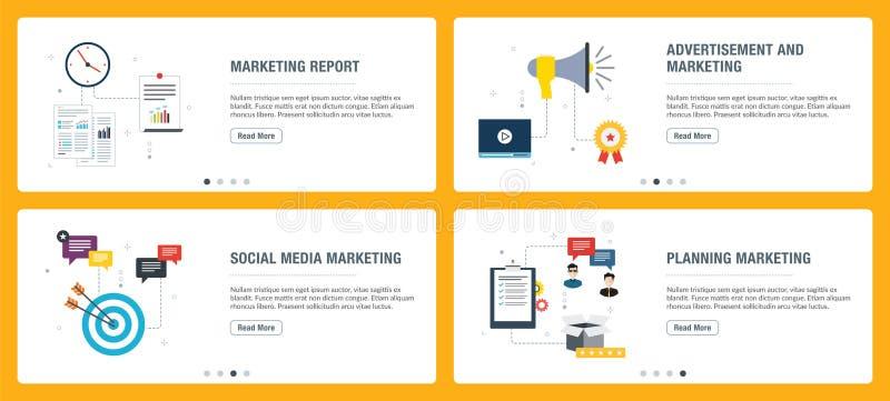 Insieme dell'insegna di Internet dell'introduzione sul mercato, dei media sociali e delle icone di pianificazione illustrazione di stock
