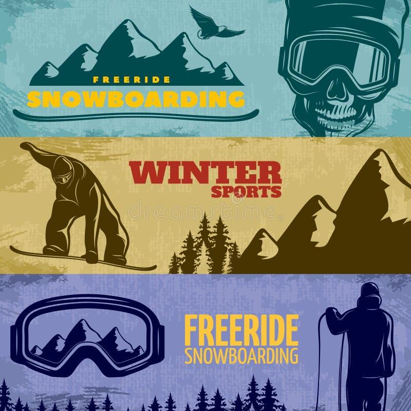 Insieme dell'insegna di snowboard illustrazione vettoriale