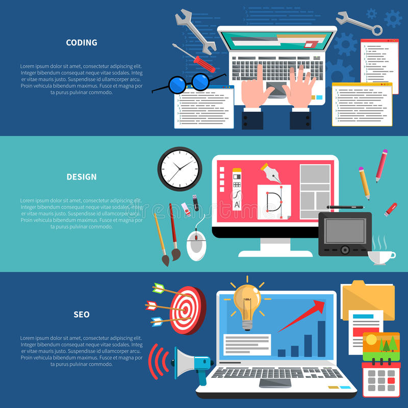 Insieme dell'insegna di sviluppo Web illustrazione di stock