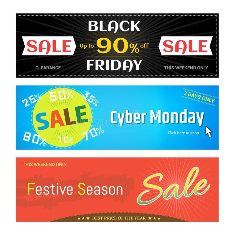 Insieme dell'insegna di web di sconto di vendita di promozione per Black Friday cyber illustrazione vettoriale