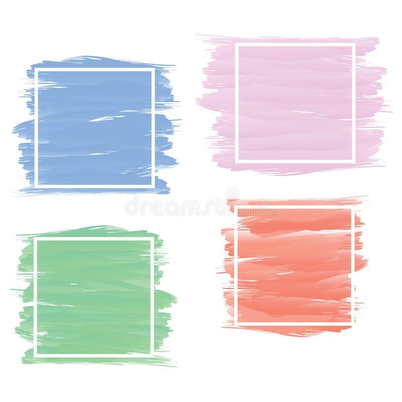 Insieme dell'insegna nello stile blu, rosa, verde, rosso della pittura della spazzola con briciolo royalty illustrazione gratis
