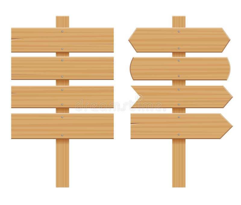Insieme dell'insegne di legno Insegna vuota del fumetto Freccia, plancia con le crepe Elementi materiali di legno Vettore piano illustrazione di stock