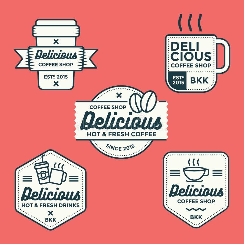 Insieme dell'insieme di vettore delle etichette, dell'insegna, di logo e dei distintivi della caffetteria illustrazione vettoriale