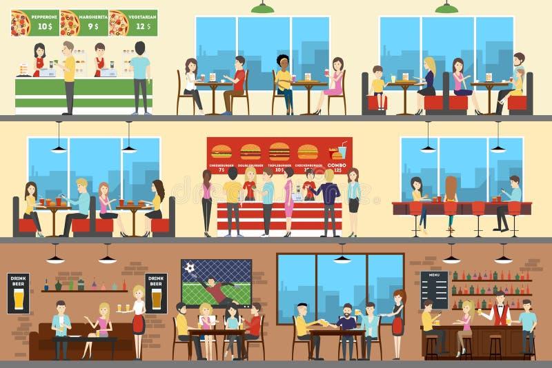 Insieme dell'interno del caffè royalty illustrazione gratis
