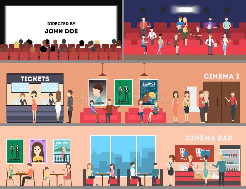Insieme dell'interno del cinema illustrazione di stock