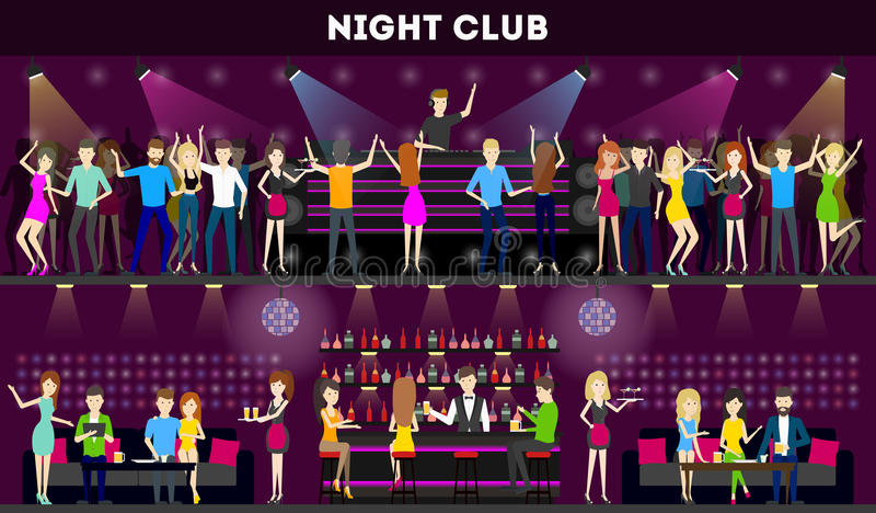Insieme dell'interno del night-club illustrazione vettoriale
