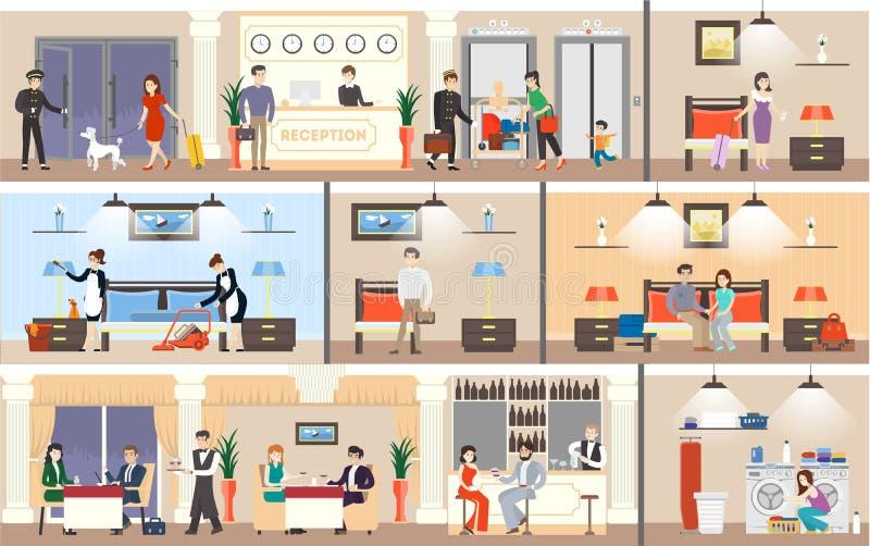 Insieme dell'interno dell'hotel illustrazione vettoriale