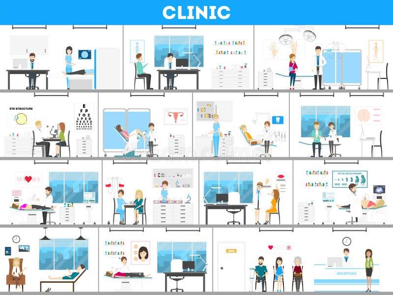 Insieme dell'interno dell'ospedale illustrazione di stock