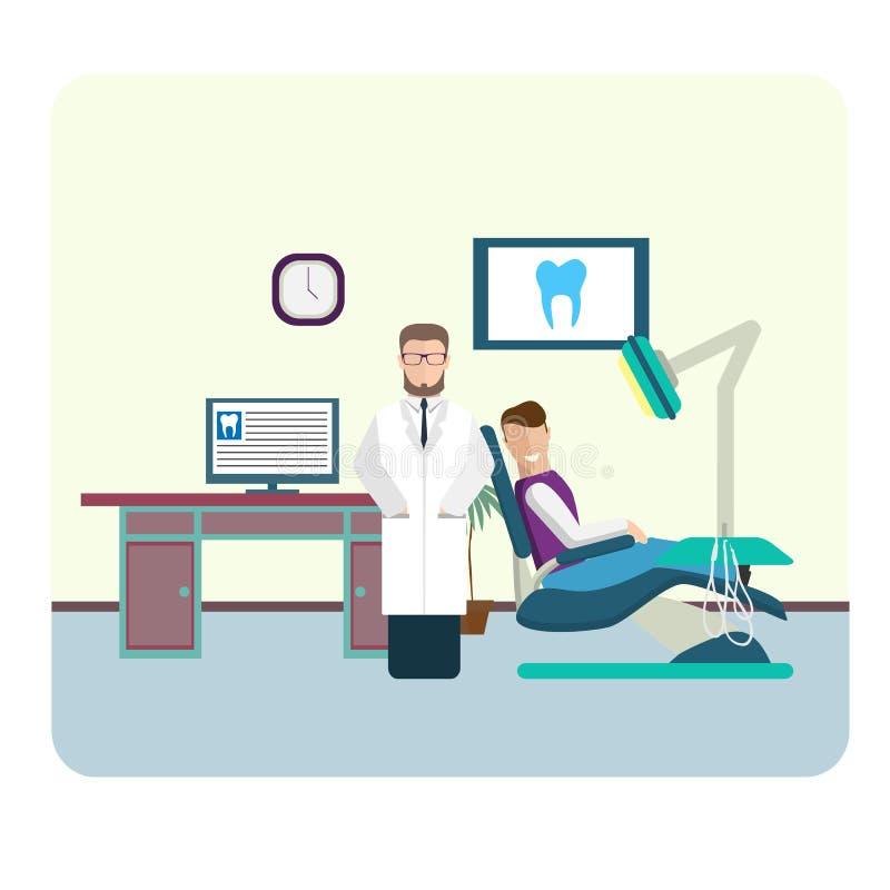 Insieme dell'interno variopinto piano dell'ufficio del dentista illustrazione di stock