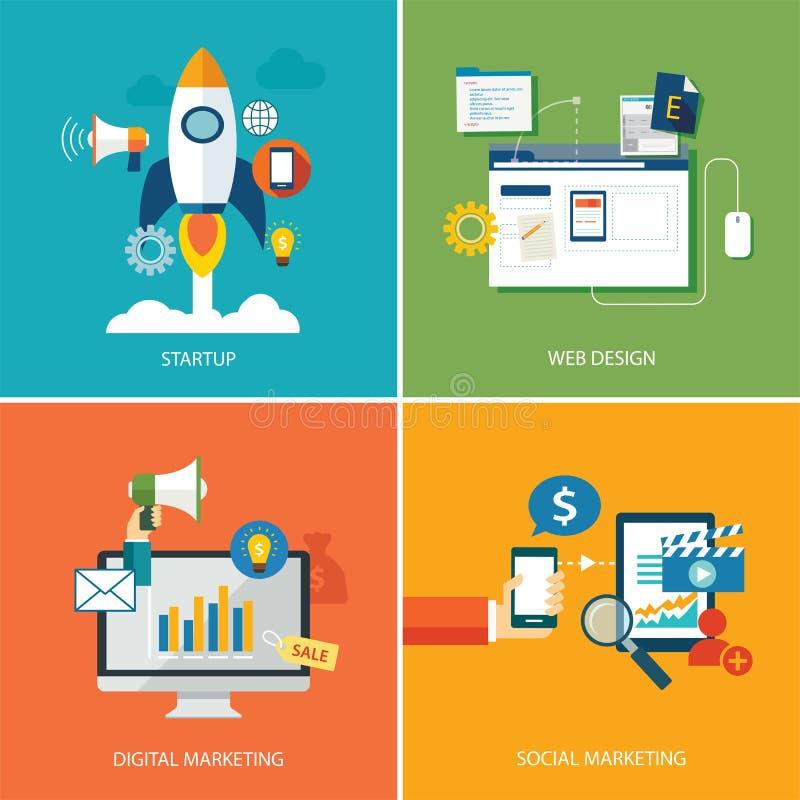 Insieme dell'introduzione sul mercato digitale, della partenza, del web design e del marketin del sociale illustrazione di stock