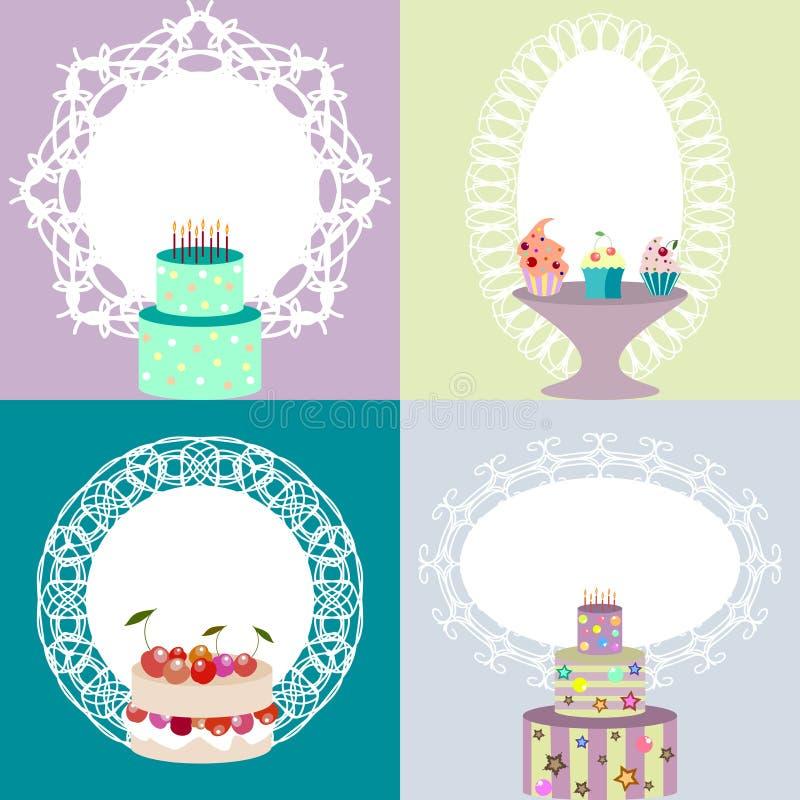 Insieme dell'invito, cartolina, modelli di logo con le strutture di pizzo e illustrazione di stock