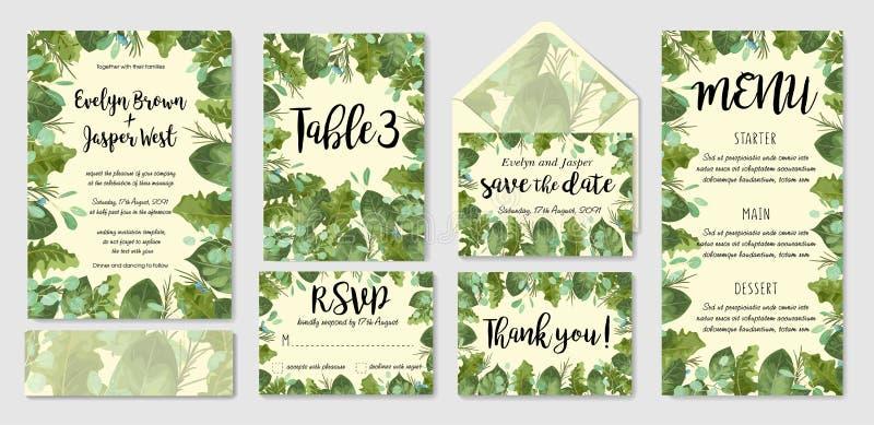 Insieme dell'invito di nozze dell'acquerello del fogliame del giardino, busta, tabl illustrazione vettoriale